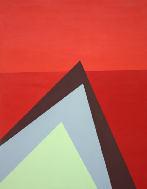 """Red Sea"" (1985) by Felrath Hines is part of  ""The Geometric Unconscious"" at Sheldon Museum of Art"