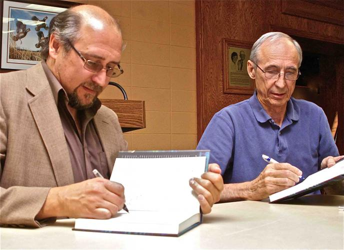 James N. Leiker (left) and Ramon Powers (photo courtesy of Rod Haxton, The Scott County Record, Oct. 6, 2011)