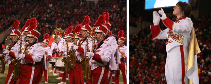 (Left) The Cornhusker Marching Band performs at halftime on Oct. 26 in Memorial Stadium. (Right) Drum Major Hannah Lambert conducts. Photos by Rose Johnson.