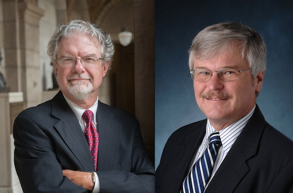 Nebraska Solicitor General, J. Kirk Brown (left), and Michael Radelet (right), a sociologist from the University of Colorado Boulder who has extensively researched capital punishment, will deliver the Nov. 28 E.N. Thompson Forum on World Issues.