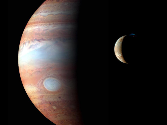 Jupiter and its moon, Io. Image courtesy NASA/Johns Hopkins University Applied Physics Laboratory/Southwest Research Institute/Goddard Space Flight Center