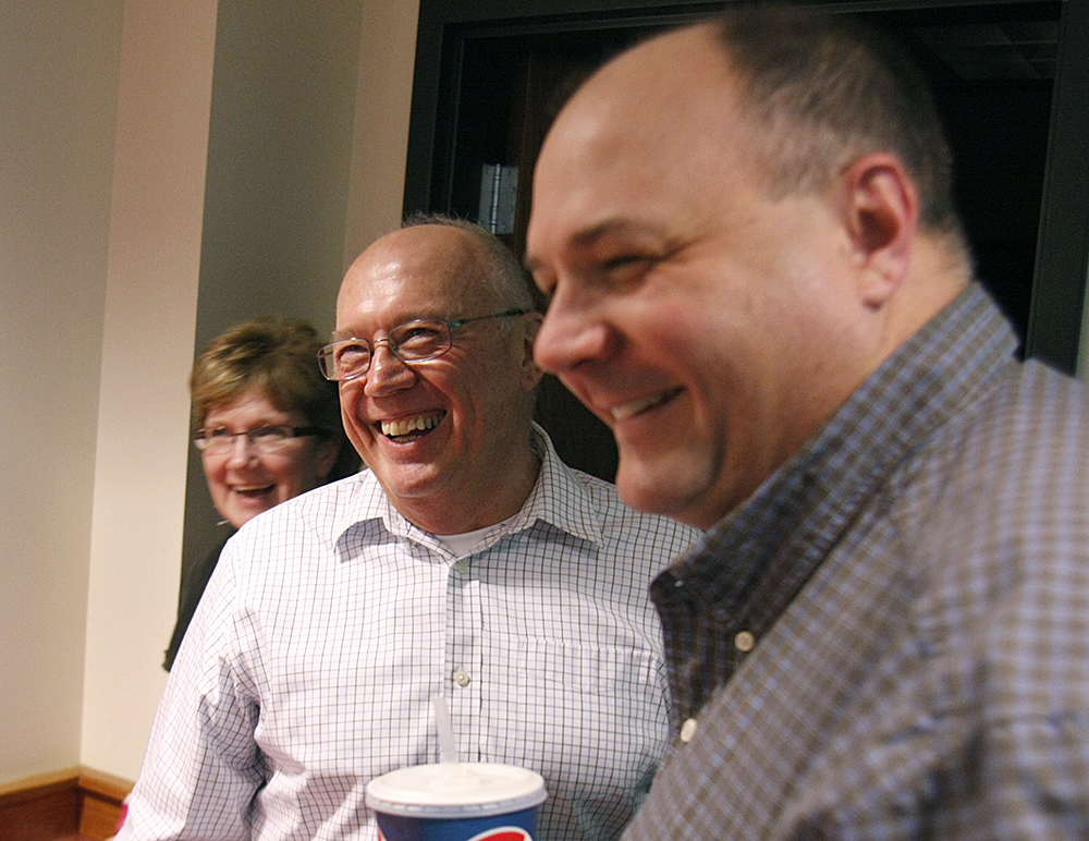 Former CALMIT director Don Rundquist (left) shares a laugh with former student Mark Svoboda—who authors the U.S. Drought Monitor—shortly after a brief ceremony Nov. 12, that noted Rundquist's service to UNL.