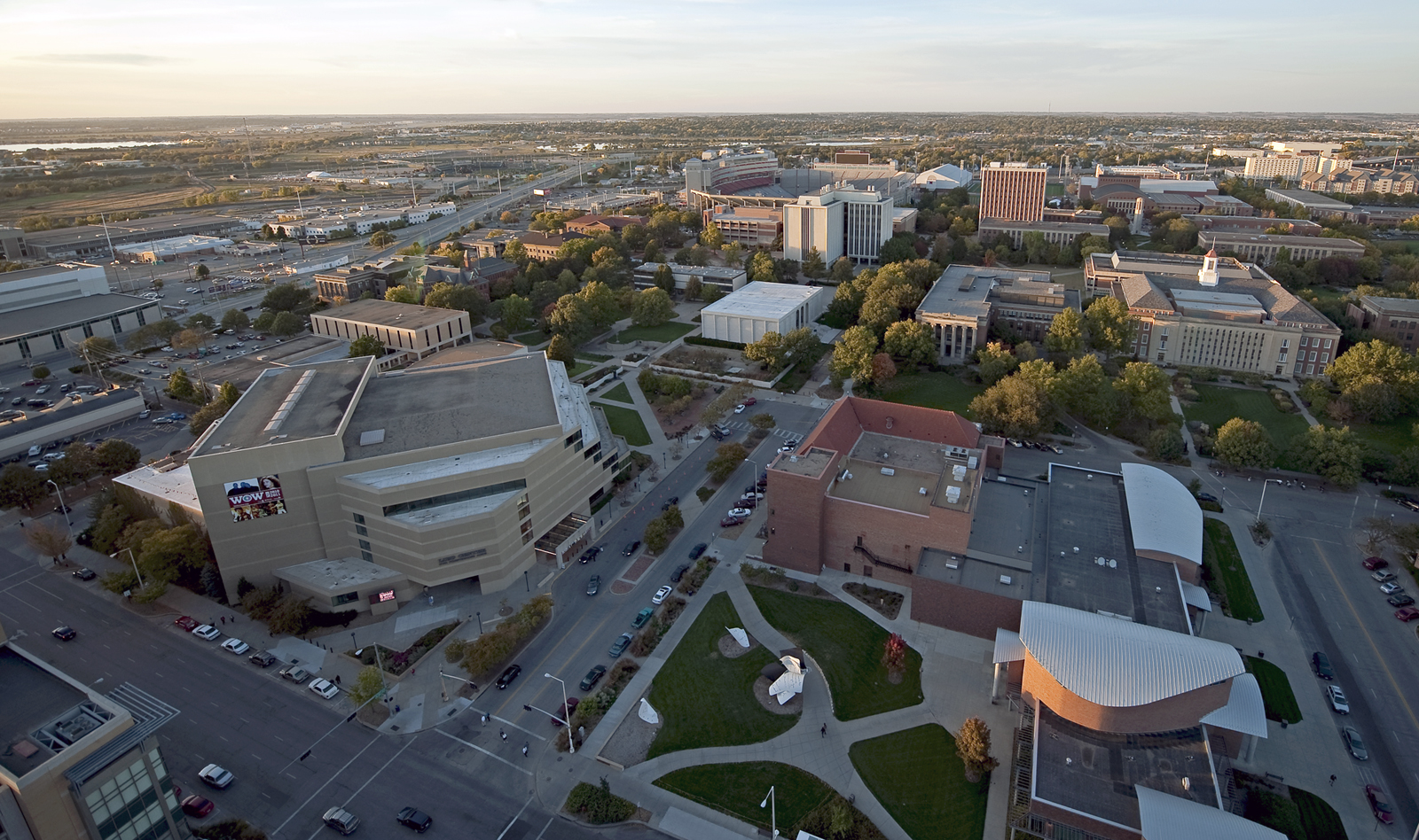 Aerial of UNL's City Campus, looking northwest along Q Street.