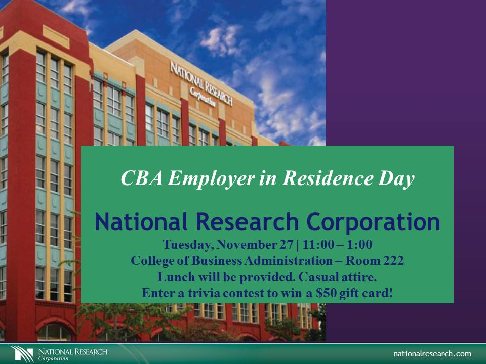 National Research Corporation (NRC) is this week's CBA Employer in Residence.