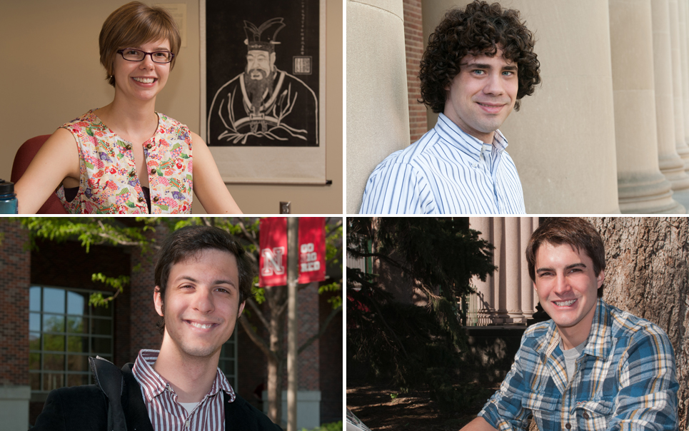 The four UNL students to earn Critical Language Scholarships are (clockwise from top left) Skylar Falter, Christopher Reznicek, Michael Schuster and Zachary Smith.