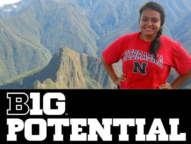 Karina Pedroza overlooks Machu Picchu in Peru.