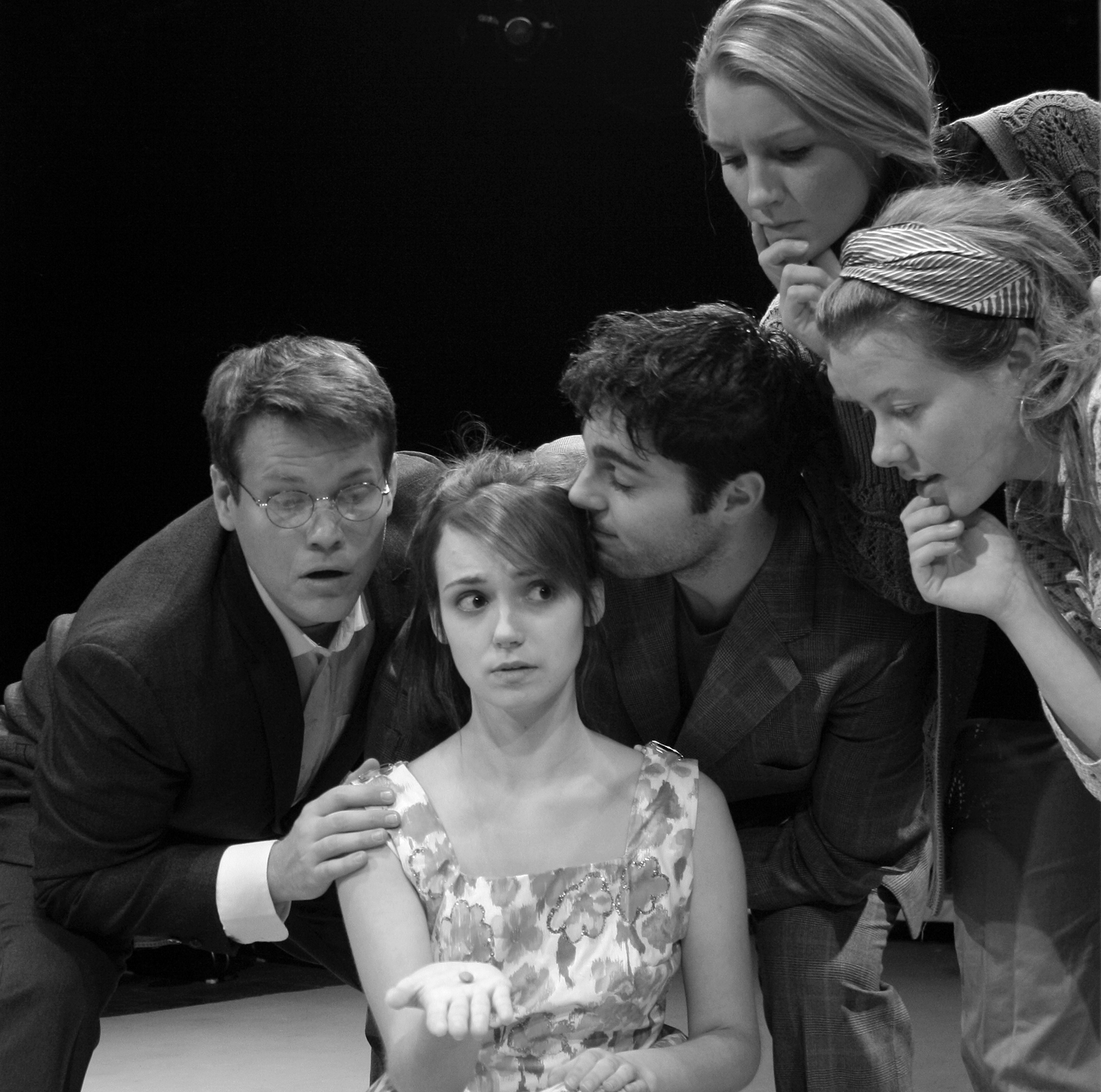 "The ""Melancholy Play"" cast includes (from left) Billy Jones, Jessie Tidball, David Michael Fox, Lucy Myrtue and Jenny Holm."