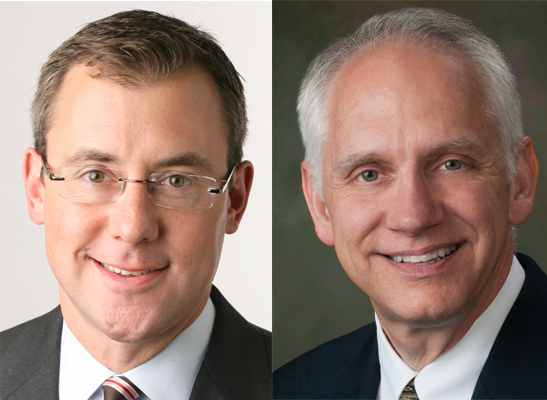 Jeff Zeleny, left, will address undergraduates at commencement on Dec. 15, and professor Chris Calkins, right, addresses doctoral and master's degree recipients on Dec. 14