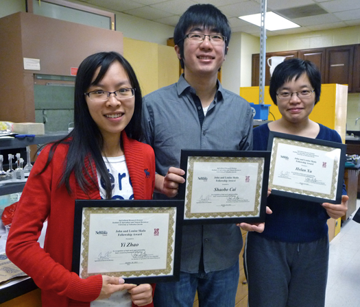Yi Zhao (from left), Shaobo Cai and Helan Xu winners of AATCC Foundation Student Research Support Grants