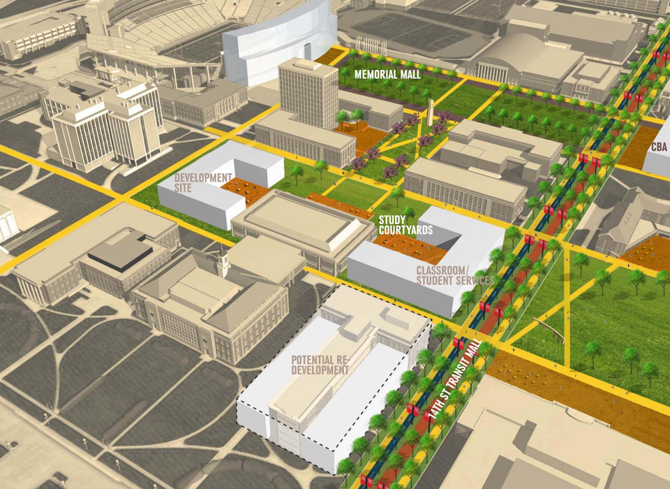 Master plan image of UNL's City Campus, looking northwest at the intersection of 14th and R streets.