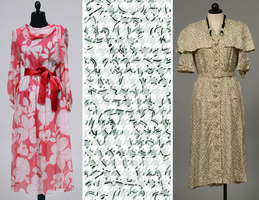 "Items on display in ""Printed Impressions"" include (from left) a Japanese floral gown; a digital print by Rachel Smith; and a Historic Costume Collection dress with a capelet."