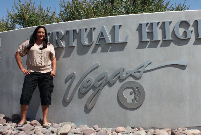 Public Media Intern Shawna Begay (Navajo) at Vegas PBS.