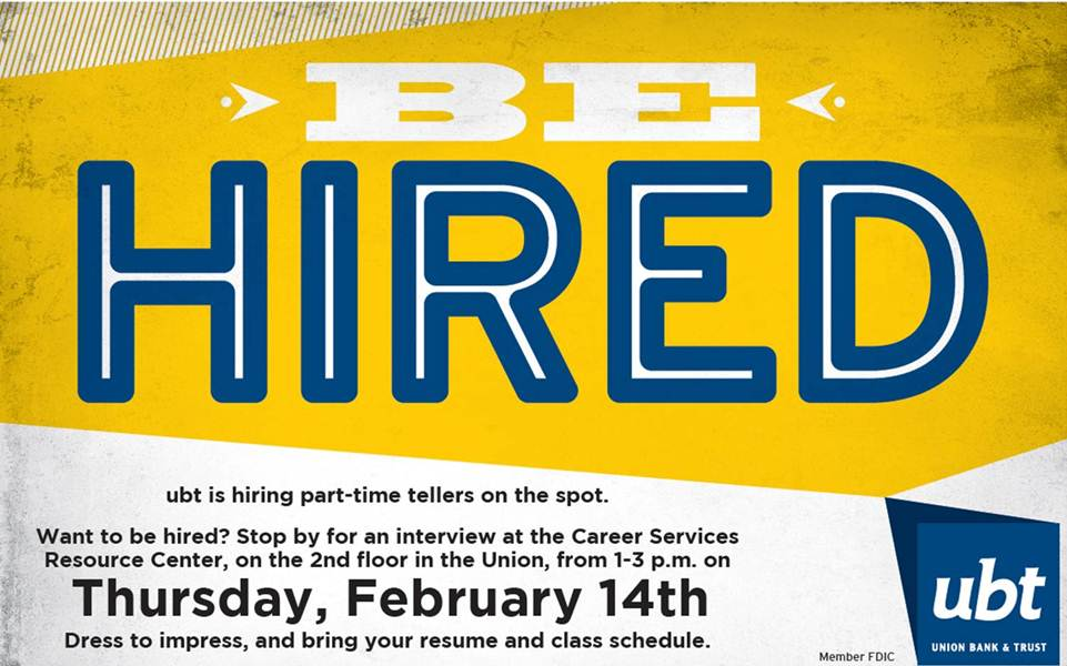 Attend the UBT Hiring Event on February 14, 2013 at 1-3 PM in the Career Resource Center (NU 225).