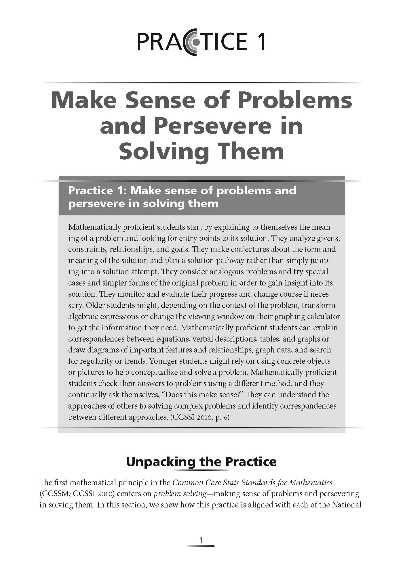 Excerpt from Connecting the NCTM Process Standards & the CCSSM Practices
