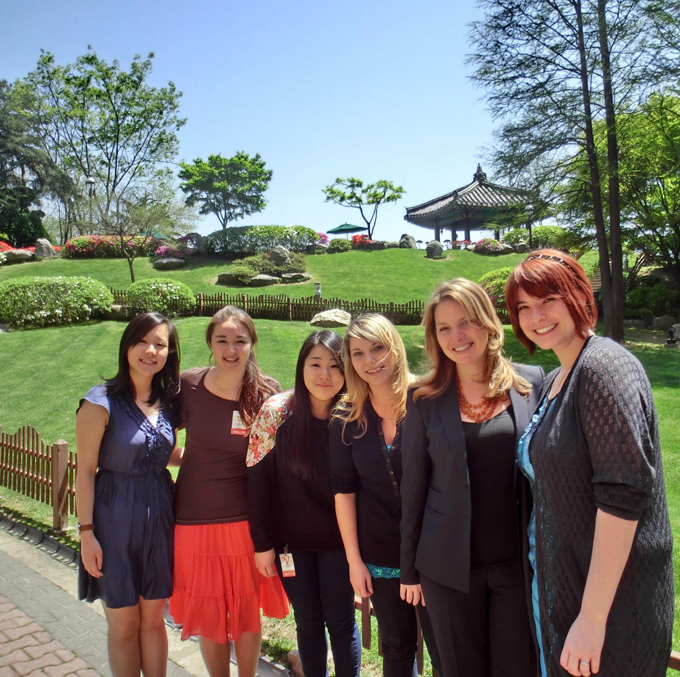 Samantha Marcoux (far right) and friends at a park in Seoul, South Korea