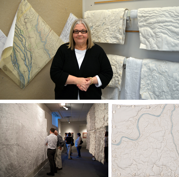 Clockwise from Top:  Liz Ingraham in her studio with some of the Terrain Squares in progress; Terrain Square Section 08A (near Gordon); Locator Map and Terrain Squares from an installation at Haydon Gallery in Lincoln.