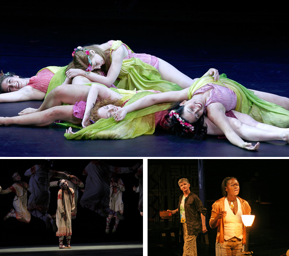 "(clockwise from top) Lori Belilove and the Isadora Duncan Dance Company; Target Margin Theatre's ""Dinner Party"" and The Joffrey Ballet performs ""Rite of Spring."""