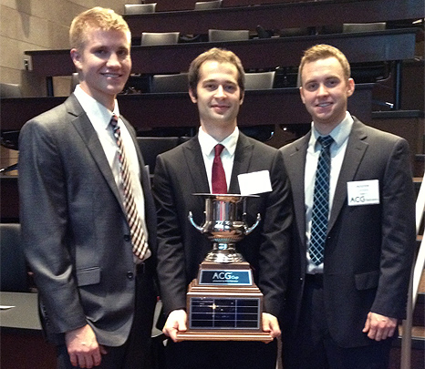 Jared Thomas, Tyler Cyboron and Andrew Lempka won the second annual Nebraska ACG Cup. They will compete in the regional competition in May in St. Louis.