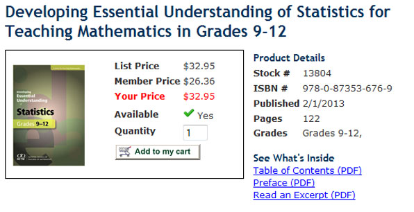 "NCTM's ""Developing Essential Understanding of Statistics for Teaching Mathematics in Grades 9-12"""