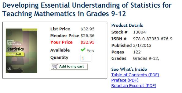 "NCTM's ""Developing Essential Understanding of Statistics for Teaching Mathematics in Grades 9-12"""