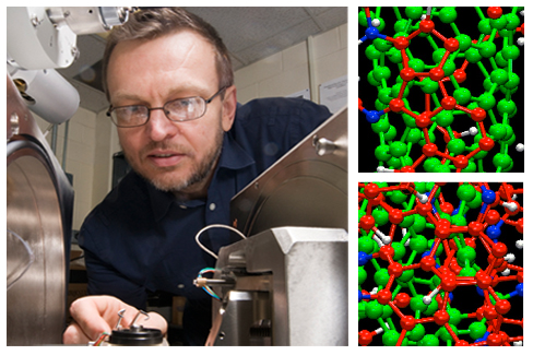 A UNL team led by Yuris Dzenis (left) is making continuous carbon nanofibers, which offer advantages over nanotubes alone in structural materials. Images on the right are from Northwestern University via ACS Nano.