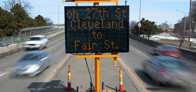 During the project, traffic will be reduced to one lane in each direction on North 27th Street between Fair Street and Cleveland Avenue. (Craig Chandler / University Communications)