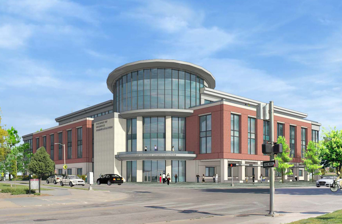 Concept drawing of the new College of Business Administration building proposed for the corner of 14th and Vine streets.
