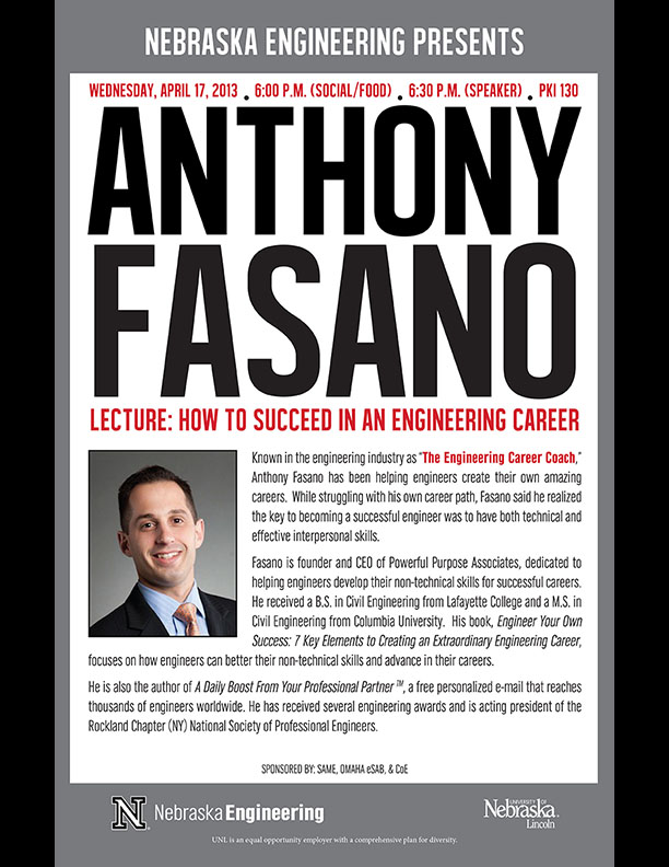 Anthony Fasano, Engineering Career Coach, speaks April 17 in Omaha
