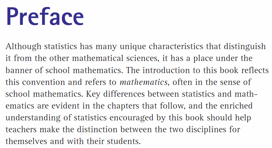 Developing Essential Understanding of Statistics for Teaching Mathematics in Grades 6-8