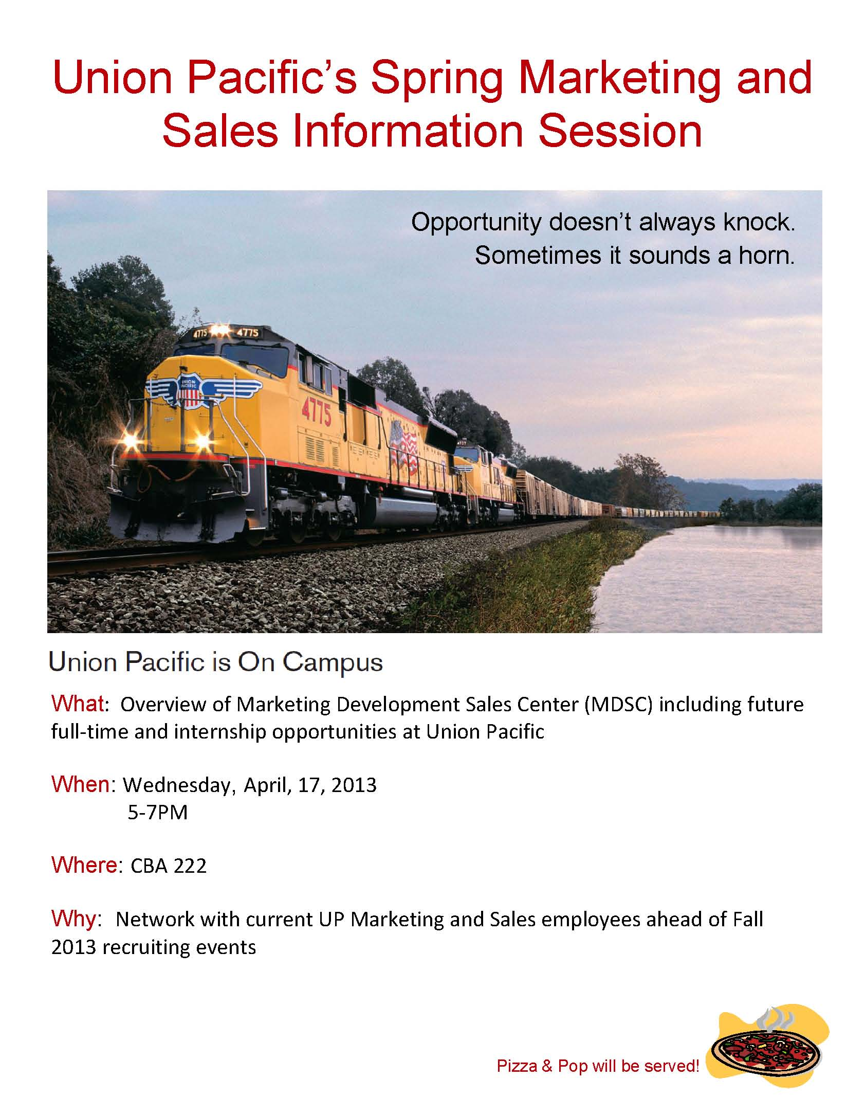 Learn more about marketing/sales opportunities at Union Pacific on April 17, 2013.
