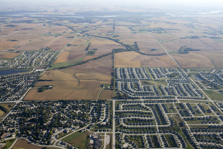An aerial view of a portion of Sarpy County.
