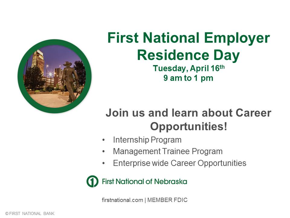 First National Bank is this week's CBA Employer in Residence on April 16, 2013.