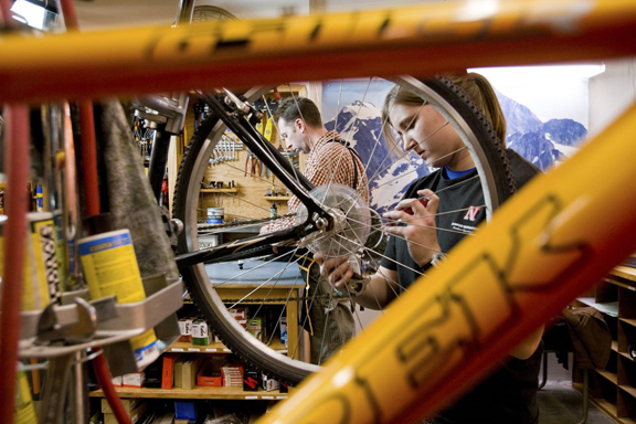 A Campus Rec employee completes a repair in the UNL Bike Shop. (Courtesy photo)