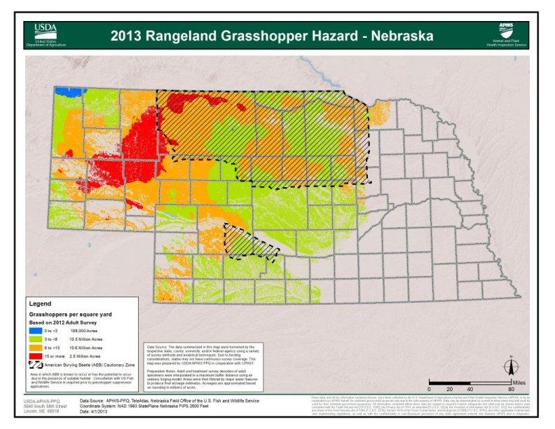USDA's 2013 Rangeland Grasshopper Hazard Map.
