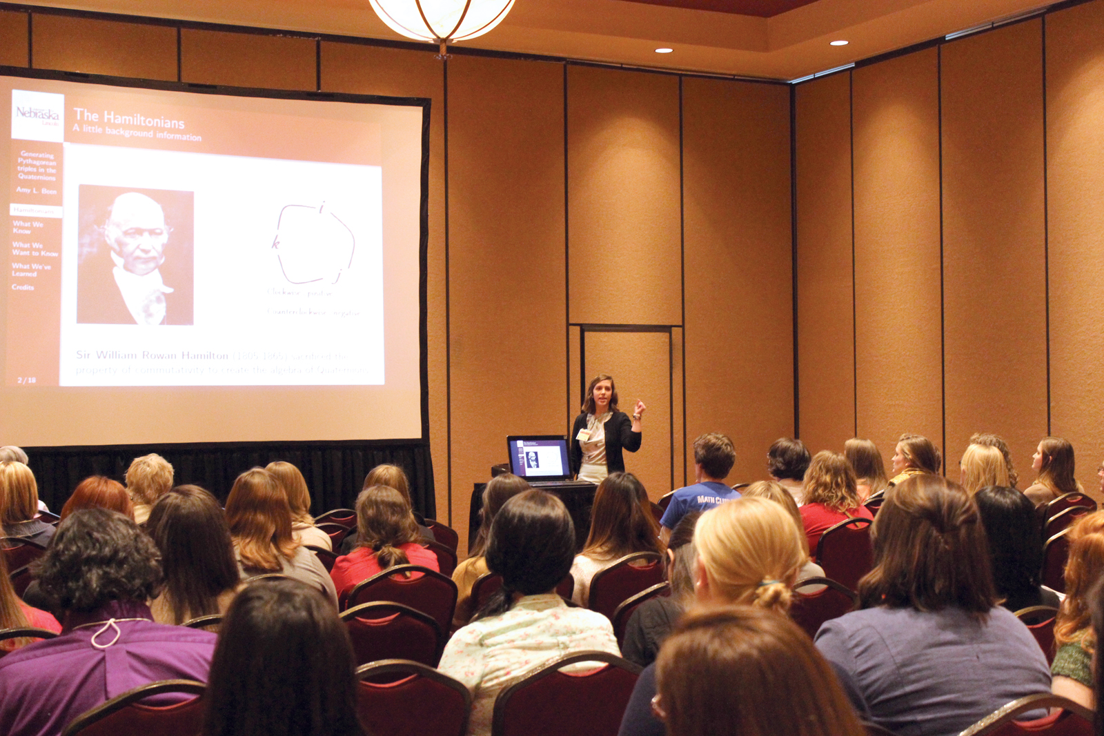 UNL student Amy Been presents research at the 15th annual Nebraska Conference for Undergraduate Women in Mathematics.