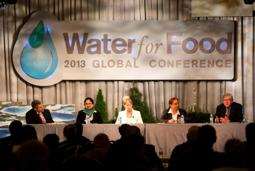 """A panel discusses """"Research in Action"""" during the opening day of the 2013 Water for Food Conference."""