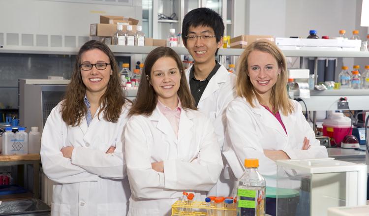 UNL's Beckman Scholars are (from left) Ashley Thelen, Valerie Eckrich, Qianli Wang and Jessica Chekal. (Craig Chandler/University Communications)