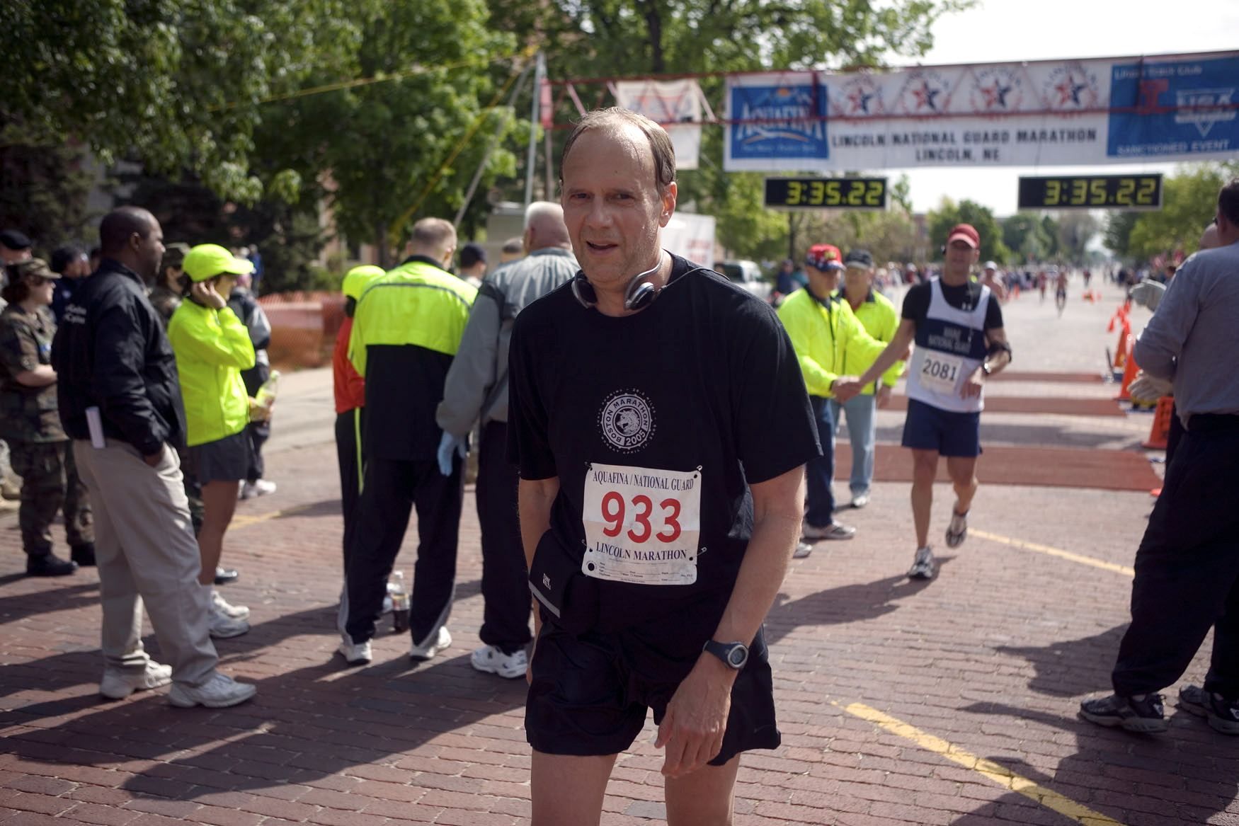 Tom Larson, Lecturer of Jazz History and Jazz Studies, finishes the 2006 Lincoln Marathon.