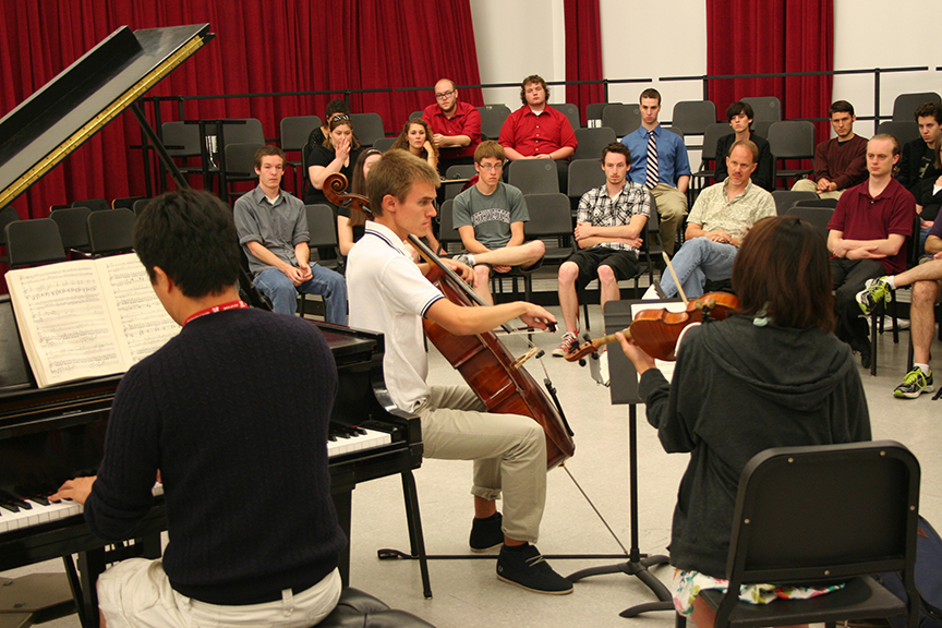 Members of the Cornhusker Piano Trio perform during a masterclass with the Chiara String Quartet at last year's CMI.
