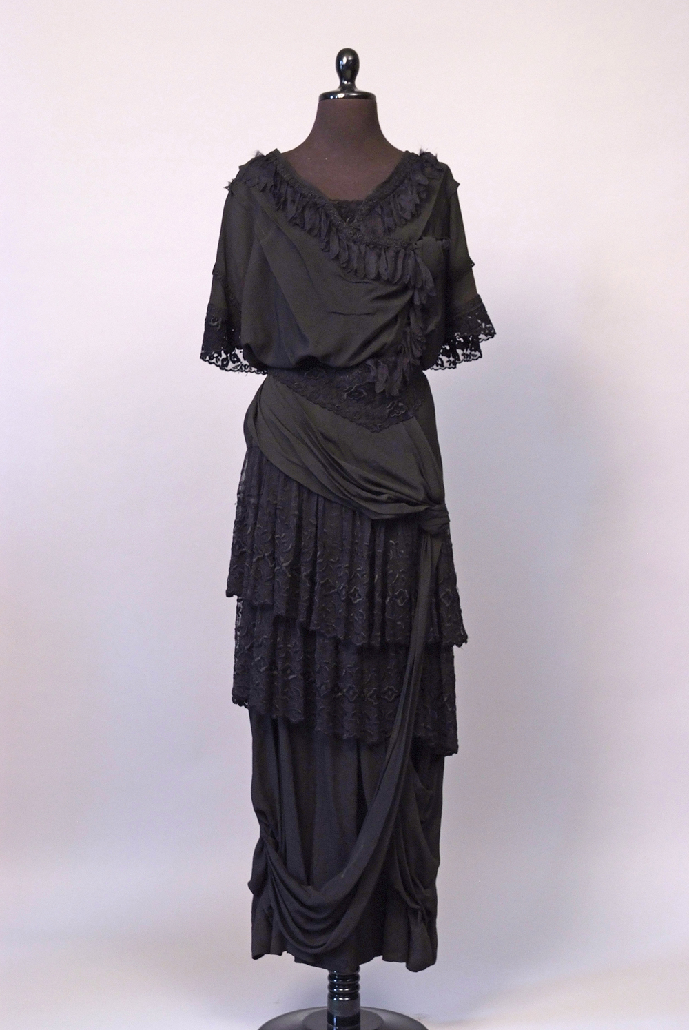 "Crepe and lace gown, c. 1917, from ""Constructing History,"" donated by Katie Best."