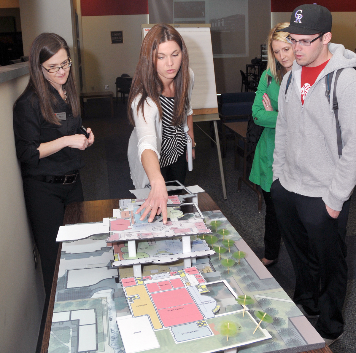 A representative of Workshop Architects discusses the Nebraska Union renovation plan with students and staff during an April 16 open forum. A refined version of the plan will be presented on May 29.