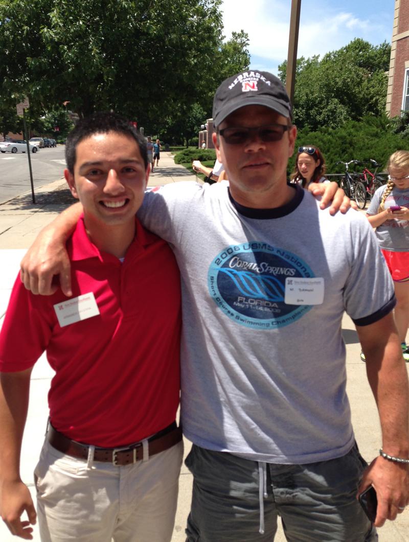 NSE student ambassador Armando Becerril (left) poses with Matt Damon outside the Nebraska Union. Damon attended NSE activities on July 10. (Courtesy photo)