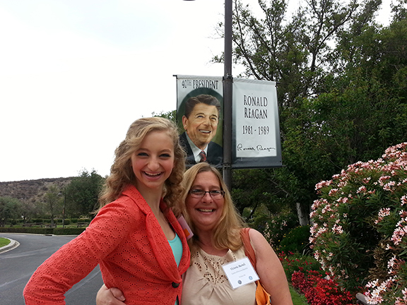 Desiree Bartels (left) and her mother, Victoria Bartels, at the Ronald Reagan Presidential Library in Simi Valley, Calif.