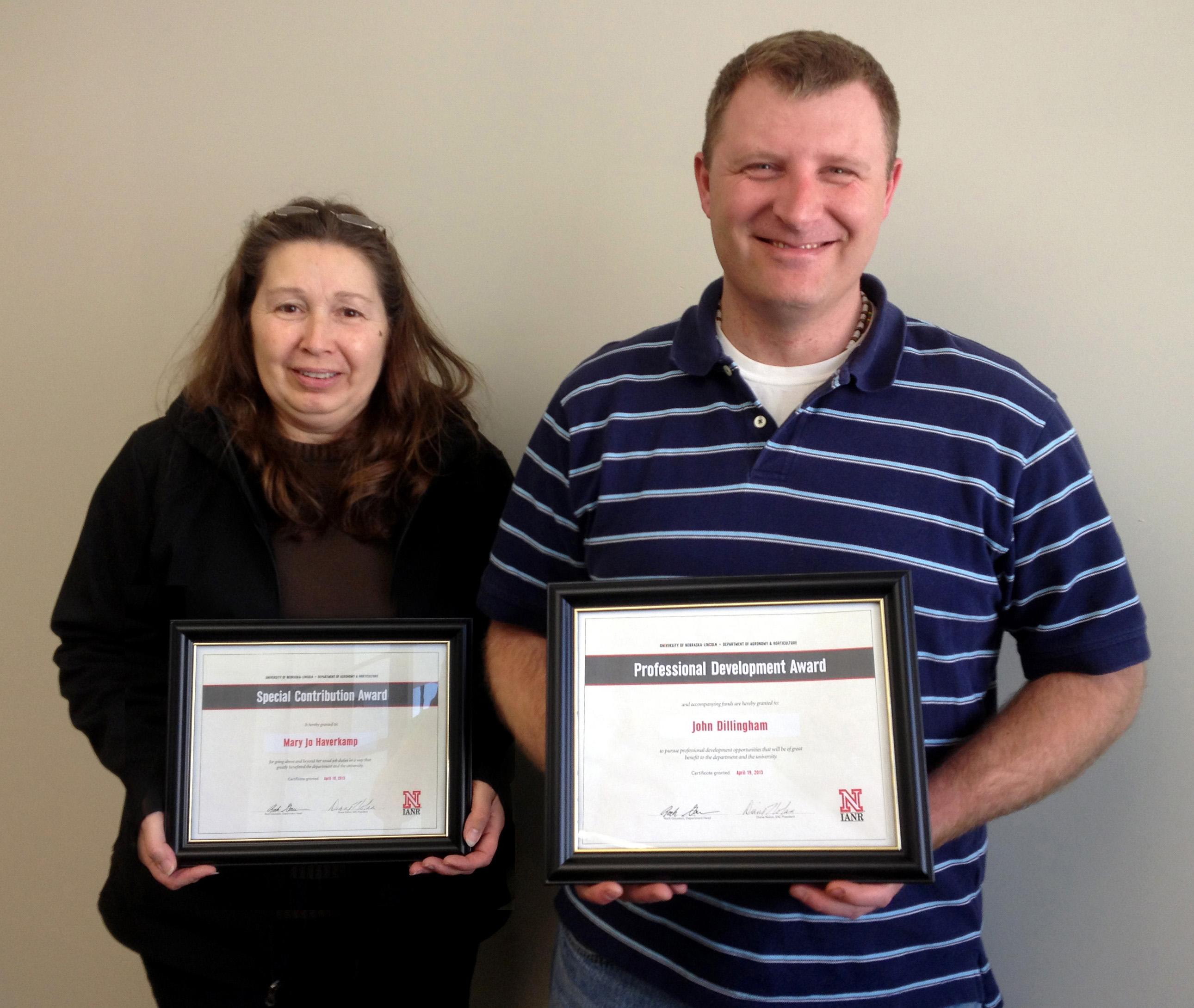Award winners Mary Joe Haverkamp and John Dillingham