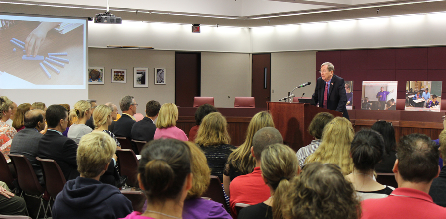 Jim Lewis speaks at the OPS TLA grant announcement on July 15