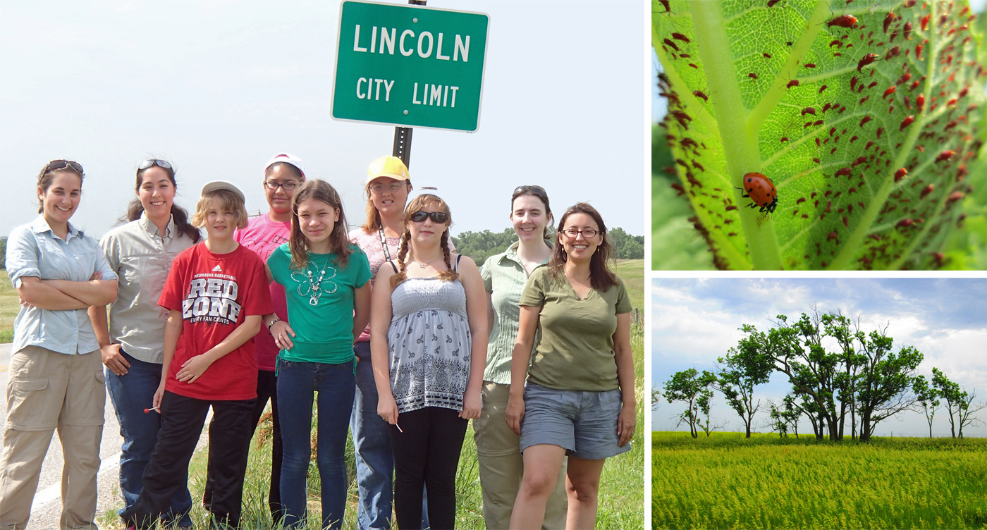 """A new exhibition at Morril Hall features nature photography captured by youth from the Boys and Girls Club of Lincoln and UNL mentors. Photos include (top right) """"Buggy"""" by Natalie Huffman-Nunez and (bottom right) """"Nine Mile Prairie"""" by Paige Brandt."""