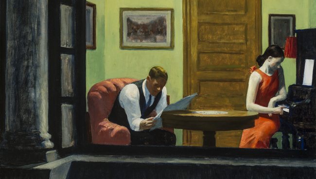 "Edward Hopper, ""Room in New York,"" 1932, oil on canvas."