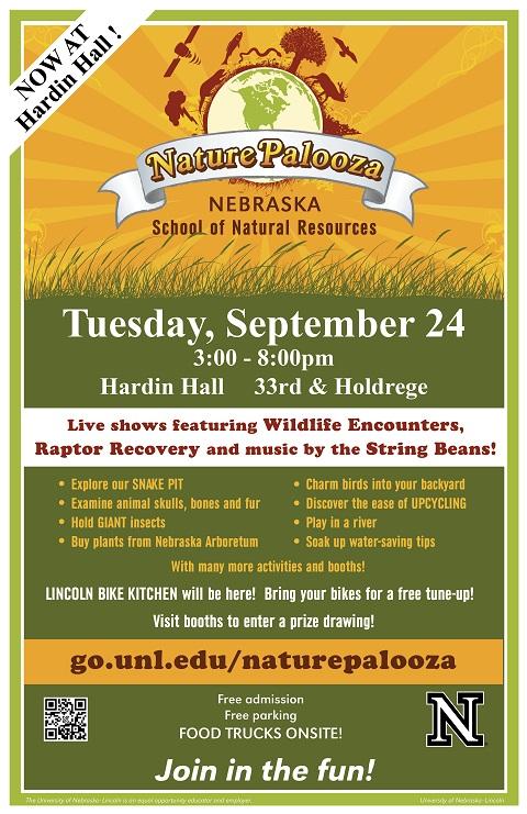 NaturePalooza Nebraska will be held from 3-8 p.m., Sept. 24 at Hardin Hall on UNL's East Campus.