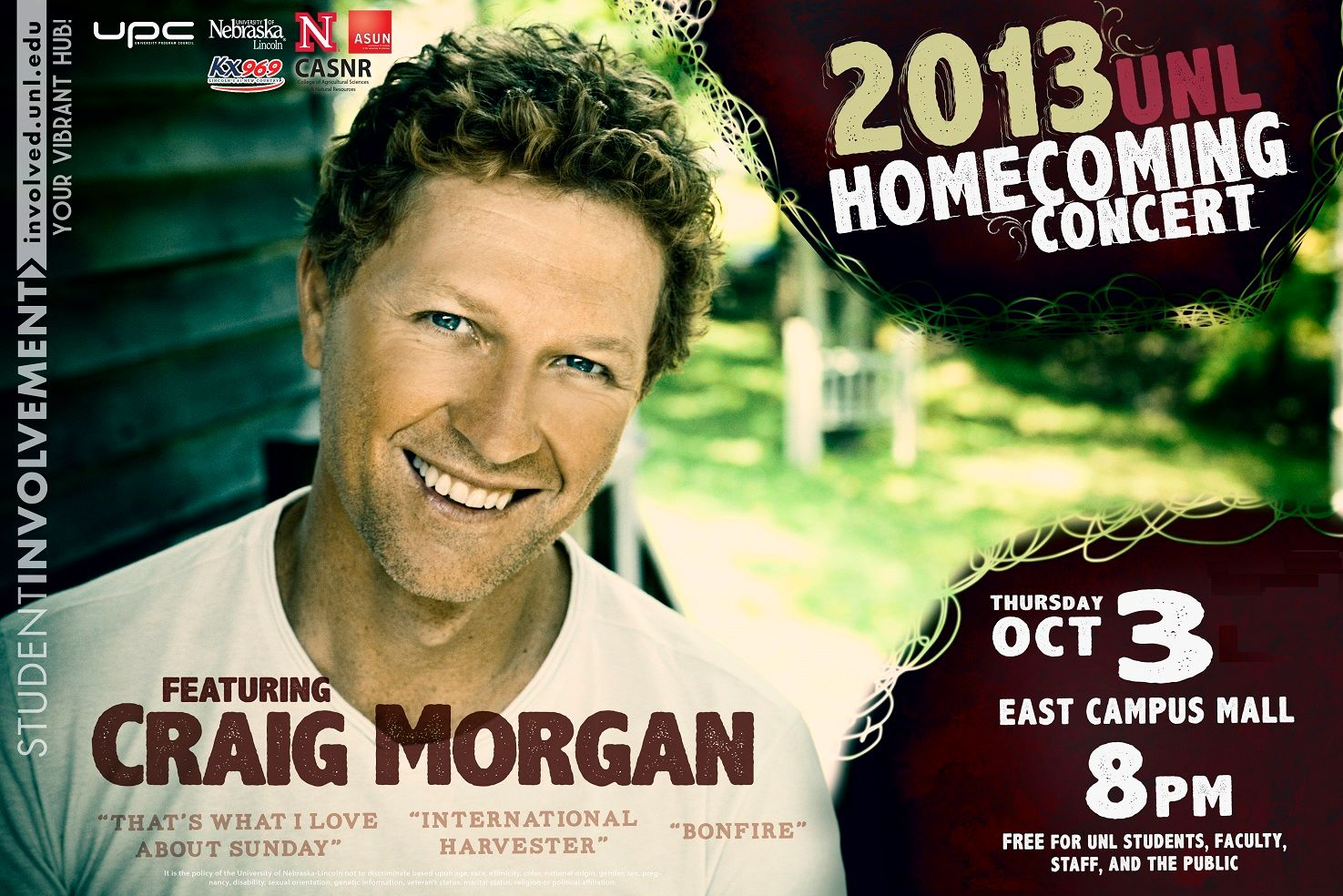2013 UNL HOMECOMING CONCERT FEATURING CRAIG MORGAN WITH SPECIAL GUEST STAR BRYNN MARIE