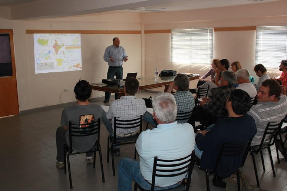 Mark Svoboda teaching a group in rural Argentina how to develop a drought early warning system. (Courtesy photo)